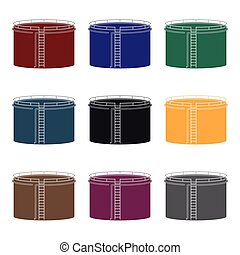 Oil storage tank. Oil single icon in black style vector symbol stock illustration web.