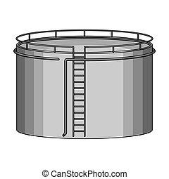 Oil storage tank. Oil single icon in monochrome style vector symbol stock illustration web.