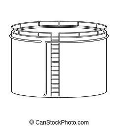 Oil storage tank. Oil single icon in outline style vector symbol stock illustration web.