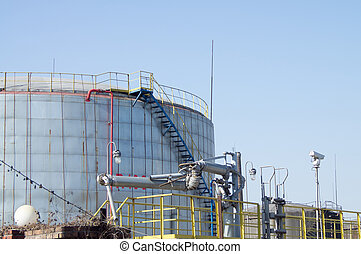 Oil storage tank - The old petrochemical industrial Plant.