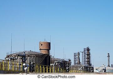 Oil storage tank - The metal pipelines petrochemical...