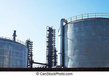 Oil storage tank - The metal pipelines petrochemical...