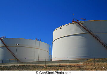 Close up of the oil storage tanks.