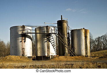Oil Storage tanks located in a rural area