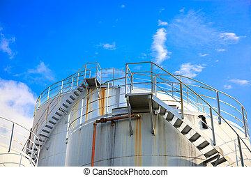 Oil storage tanks under blue sky - Industrial Fuel Storages...