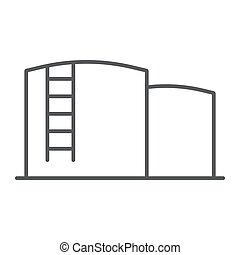 Oil storage thin line icon, fuel and industry, oil tank sign, vector graphics, a linear pattern on a white background.