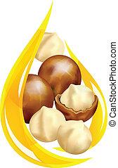 oil., stylized, macadamia, drop.