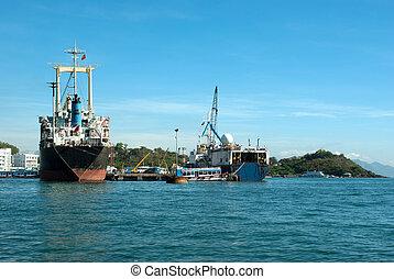 Oil surveillance ship at dock
