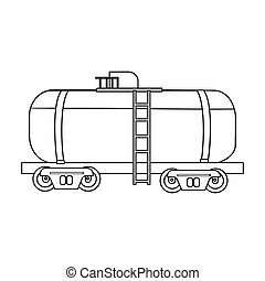 Oil tank car icon in outline style isolated on white background. Oil industry symbol stock bitmap, rastr illustration.