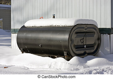 Oil tank - Home heating oil tank outside of house