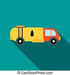 Oil tank truck icon, flat style