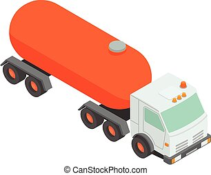 Oil tank truck icon, isometric style