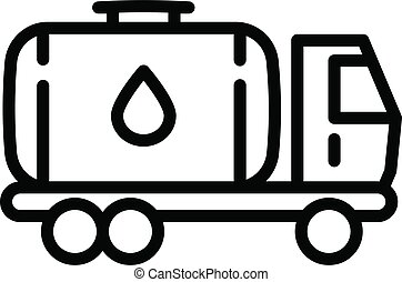 Oil tank truck icon, outline style