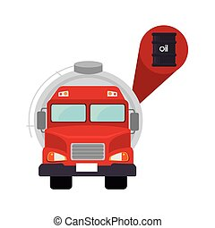oil tank truck - red tank truck vehicle with oil barrel...