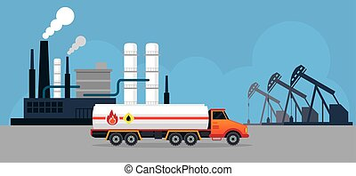 Oil Tank Truck Side View and Refinery