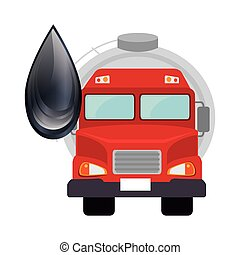 oil tank truck with black drop icon. vector illustration
