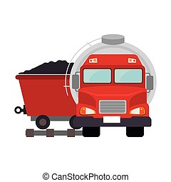oil tank truck with cargo wagon with coal icon. vector...