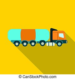 Oil tank trucker icon in flat style isolated on white background
