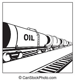 Oil tank wagon with rails in perspective. Vector illustration.