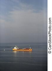 Aerial view of oil tanker on Atlantic Ocean.