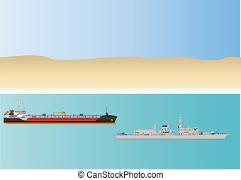 Oil Tanker and Warship
