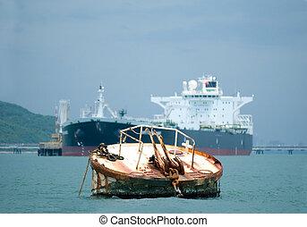 oil-tanker, bouée, rouillé, fond, amarrage