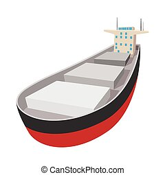 Oil tanker cartoon icon. Single symbol isolated on a white...