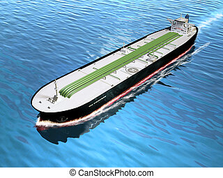 Oil tanker cruising in the ocean. Digital illustration.