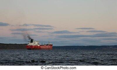 Oil Tanker  - Empty oil tanker, early morning.