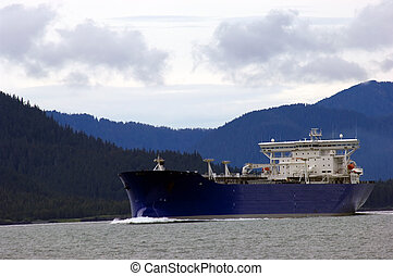 Oil tanker going to refinery near Valdez, Alaska