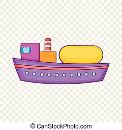 Oil tanker icon, cartoon style - Oil tanker icon in cartoon...