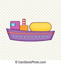 Oil tanker icon, cartoon style