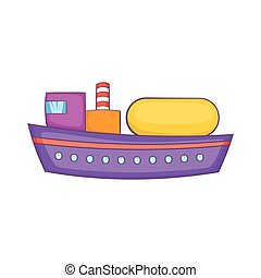 Oil tanker icon, cartoon style