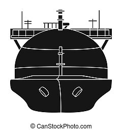 Oil tanker icon in black style isolated on white background. Oil industry symbol stock bitmap, rastr illustration.