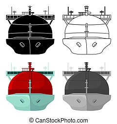 Oil tanker icon in cartoon style isolated on white background. Oil industry symbol stock vector illustration.