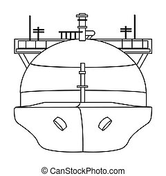Oil tanker icon in outline style isolated on white background. Oil industry symbol stock bitmap, rastr illustration.