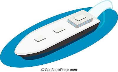 Oil tanker icon, isometric style