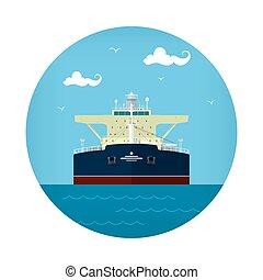 Oil Tanker Icon, Tank Ship , Vector Illustration