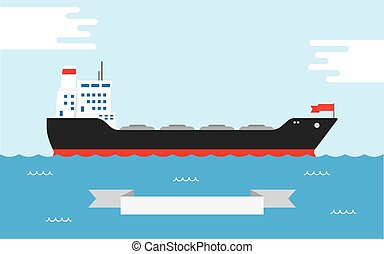 Oil Tanker, illustration - Vector illustration of silhouette...