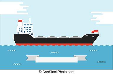 Oil Tanker, illustration - Vector illustration of silhouette...