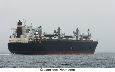 Oil tanker in the middle of the ocean