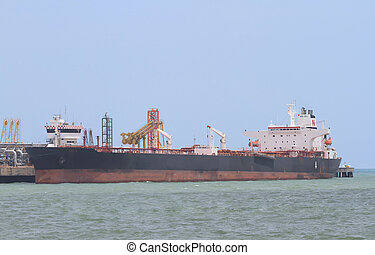 oil tanker in the port of     (Map Ta Phut Industrial Estate Rayong Thailand)