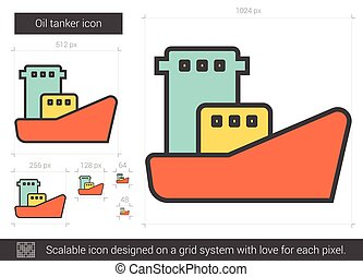 Oil tanker line icon. - Oil tanker vector line icon isolated...