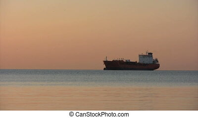 Oil Tanker - oil tanker at sunrise