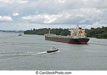Oil Tanker on Gatun Lake - East bound oil tanker on Gatun...