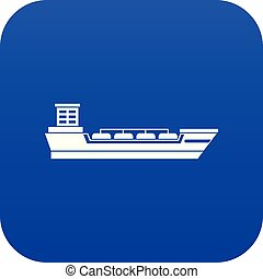 Oil tanker ship icon digital blue for any design isolated on...