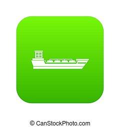 Oil tanker ship icon digital green