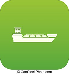 Oil tanker ship icon digital green for any design isolated...