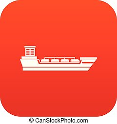 Oil tanker ship icon digital red for any design isolated on...
