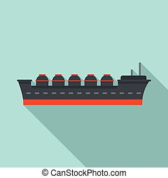 Oil tanker ship icon, flat style